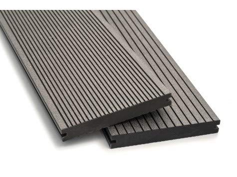 WPC Terrassendielen Breitdielen Massiv XL - Komplett-Set Hellgrau | 28m²(4m x 7m) | Boden-Fliesen + Unterkonstruktion & Clips | Balkon Boden-Belag + rutschfest + witterungsbeständig