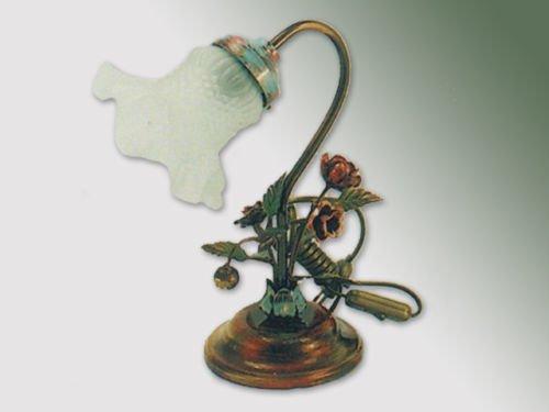 Abat-Jour Lampe de Table en fer forgé avec rose décoration et Verre