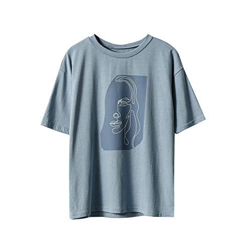 Maglietta da donna con stampa astratta, a maniche corte, estate, collo rotondo, coreano, casual, taglia asiatica blu Taglia unica