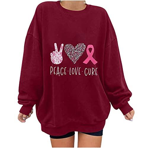 여성 패션 크루넥 스웨터 유방암 테마 인쇄 롱 슬리브 컴피 오버사이즈 스웨터 탑