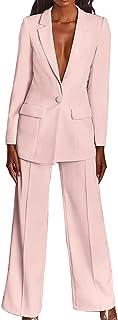 Women Casual Candy Colour Blazer Suits Long Sleeve Single Breasted Blazer Cardigan + High Waist Wide Leg Pants Officewear