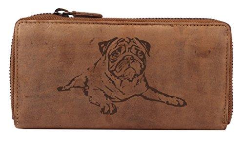 Mops Damen-Geldbörse, eine Leder-Geldbörse für Hundefreunde und Mops-Liebhaber
