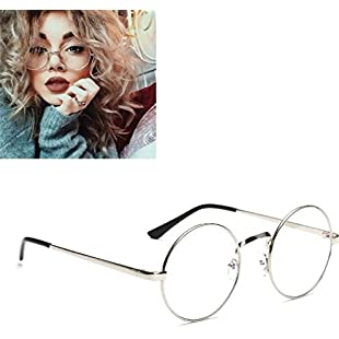 Customer reviews Unisex Round Glasses Metal Frame Summer Retro Clear Lens Vintage Geek Oversized Eyelasses:Asagao