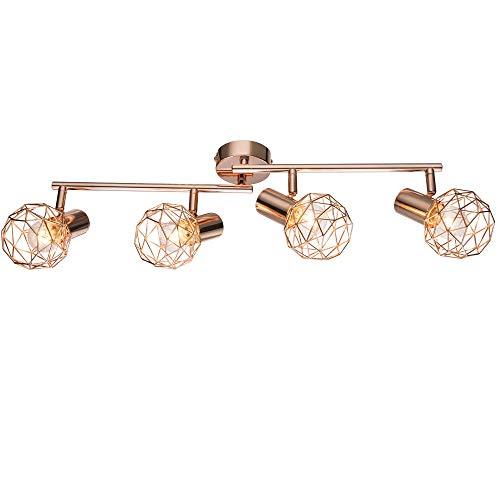 Decken Lampe Wohn Ess Zimmer Beleuchtung Spot Kupfer Kugel Geflecht Lampe Globo 54805-4 XARA