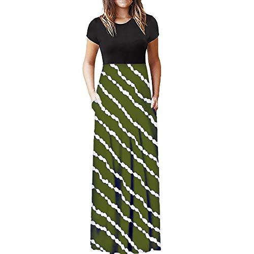 Celucke Womens Stripes Printed Casual Long Dress, 2021 Elegant Short Sleeve Round Neck Spaghetti Maxi Dress with Pockets Green