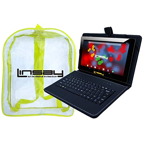 """LINSAY 10.1"""" 1280x800 IPS Screen Quad Core Tablet 16GB with Black Keyboard and Kids Back Pack"""