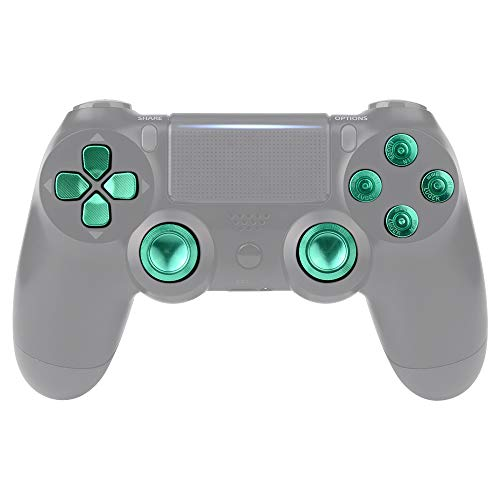 eXtremeRate Green Metal Buttons for Playstation 4 Controller, Aluminum Analog Thumbsticks & Bullet Buttons & D-pad Replacements Kits for DualShock 4 PS4 Slim Pro Controller