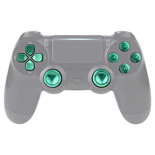 eXtremeRate Button Thumbsticks D-Pad Steuerkreuz aus Aluminium für Playstation 4/PS4 Slim/PS4 Pro Controller Set Bundle Munition Thumbsticks Bullets Tasten Kappen Zubehör(Grün)