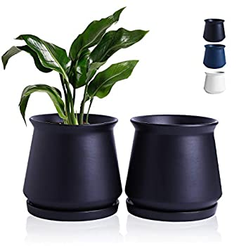 Wencassy Plant Pots - 4.5 Inch Indoor Ceramic Planters with Connected Saucer Pots for Succulent and Little Snake Plants Set of 2 Matte Black