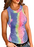 dye neck protector - Shed Protector Women's Summer Tops Racerback Tie Tye Tank Tops Slim Fit Cami Sleeveless Shirts Blouses Work Multi XL