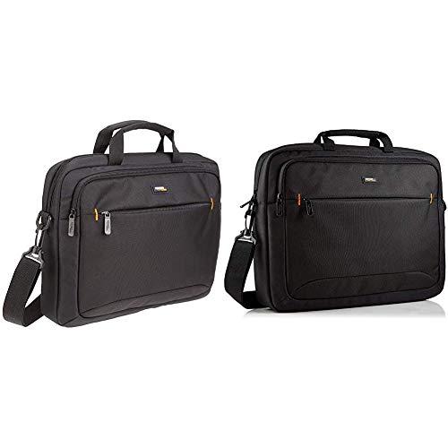 AmazonBasics - Borsa a tracolla per laptop, Macbook e tablet da 14'' (35,6 cm), nero, confezione da 1 & Custodia per laptop HP fino a 17,3'' (44 cm), nero, confezione da 1