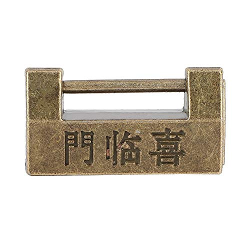 TMISHION Vintage Vorhängeschloss, Vintage Chinesischen Stil Mini Kupfer Vorhängeschloss Horizontalschloss für Schmuckschatulle schützen Halsketten, Armbänder und Ringe an Ohrringen und Uhren