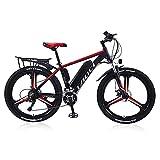 Elektrische Fahrräder für Erwachsene, Magnesium-Legierung Ebikes Fahrräder All Terrain, 26' 36V 350W 13Ah austauschbaren Lithium-Ionen-Akku Berg Ebike für Herren (red, 18970402-RED-13AH80KM)