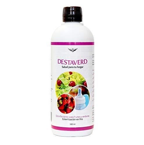 DESTAVERD Desinfectante Frutas y Verduras SIN LEJÍA y Esterilizador biberones y tetinas en frío - Sin olor, no deja sabor. No es contaminante, ni irritante ni corrosivo (500 ml)