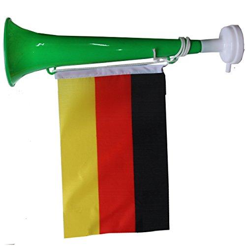 SchwabMarken Handball WM Weltmeisterschaft Tröte Horn Fahne Flagge. Viele Verschiedene Fanartikel Sets, Hier 1 Stück Tröte Grün mit Fahne Trompete, Tröte, Ballons, Trillerpfeife, Armband, Stirnba