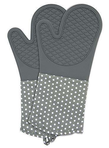 WENKO Gants de cuisine gris - 1 paire, Coton, 18.5 x 37.5 cm, Gris