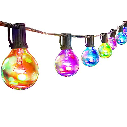 Palawell Outdoor String Lights Multicolor - 25ft 25 LED Vintage Edison G40 Clear Globe Bulbs - 5 Color Fairy Lights Christmas Lights - Dimmable - 25 Bulbs