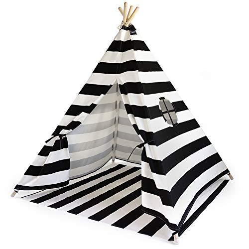 Hej Lønne Kinder Tipi, schwarz weiß gestreiftes Zelt, circa 120 x 120 x 150 cm groß, Spielzelt mit Bodendecke und Fenster, inkl. Beutel und Anleitung, für drinnen und draußen, schadstofffrei