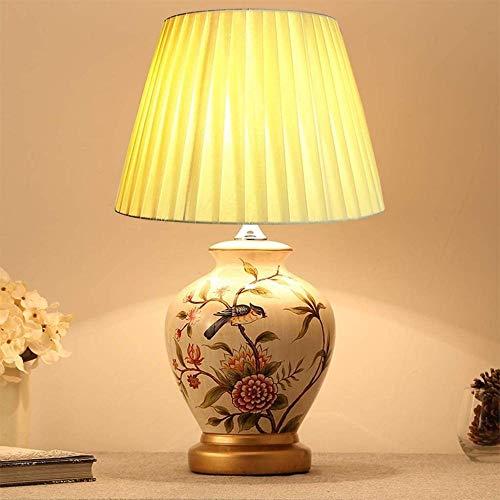 Lámpara de mesa de cerámica oriental, lámpara de mesa de flores y pájaros de pintura creativa, lámpara de cabecera de dormitorio de estilo europeo ret.