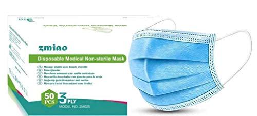 Medizinische OP Masken 50 Stück Typ IIR EN 14683:2019 Einweg 3 lagig Mundmasken Maske Gesichtsmaske Einwegmaske Mundschutz Staubschutz Gesichtsschutz Einwegschutzmaske Schutzmaske Atemschutz