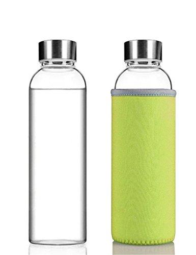 HMILYDYK Glas Wasser Flasche–Hochwertige Umweltfreundliche Borosilikat Glas Flaschen für Camping, Radfahren, Workouts, Running, 360ml