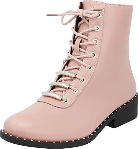 Cambridge Select Women's Round Toe Studded Lace-up Chunky Low Heel Combat Boot,8.5 B(M) US,Mauve PU