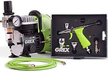 Grex GCK03 Tritium.TG Airbrush Combo Kit with Tritium.TG Airbrush AC1810-A Compressor and Accessories - Full Airbrush System - Multicolored 1 Set