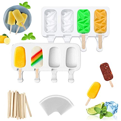 Moldes de silicona para paletas de hielo, 2 unidades de moldes de silicona, 4 cavidades caseras, moldes de silicona para tartas con 50 palos de madera y 50 bolsas autoadhesivas para helados