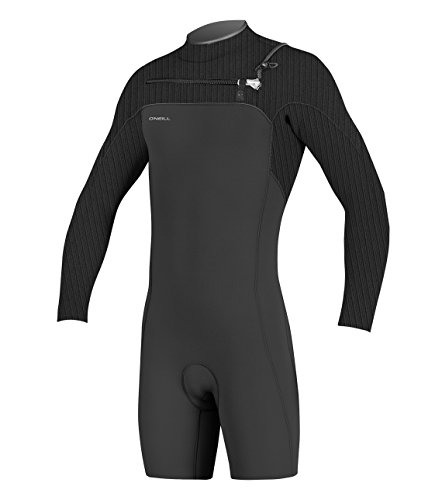 O'Neill Men's Hyperfreak 2mm Chest Zip Long Sleeve Spring Wetsuit, Black, Medium