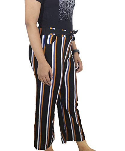 JKT Jackpot Women High Waisted Blue Striped Palazzo Trouser Pants for Formal/Casual wear with Pockets (Free Size, Upto 36 inches) (Multicolour)