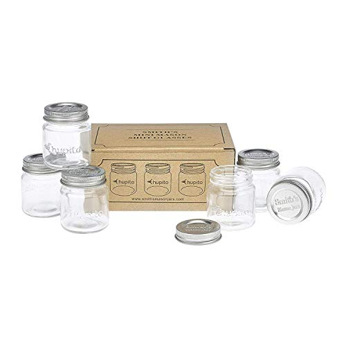 Smiths Mini Mason Jar Set of 6 Chupito Shot Glasses with Lids - 2oz Per Shot Glass