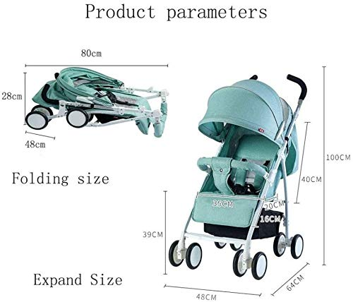 LAMTON Baby Stroller for Newborn, Baby Pushchair,Folding Summer Stroller Lightweight Infant Travel Buggy,80 * 48 * 28/cm (Color : Gray) LAMTON Adjustable handlebars for people of all heights can adjust the most comfortable push position Easy to fold, can be picked up in the trunk of the car, his parents urge him to go shopping, travel, walk, play and talk, or picnic outdoors ★ The weight is 5.2kg,Folded size:80*48*28/cm(31.5*19*11/inches) 3