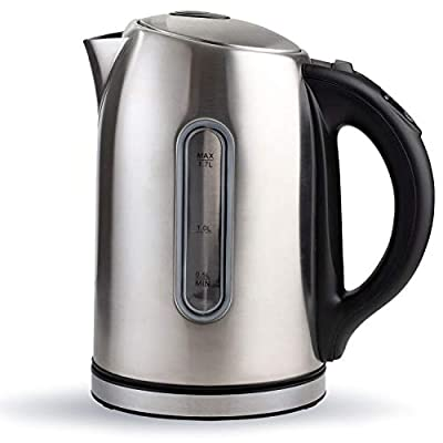 Electric Tea Kettle, Cordless Stainless Pot 1.7L Temperature Control Hot Water Heater, Stainless Steel With LED Light, Automatic Fast Boiling Teapot, BPA Free for Home & Kitchen use (Stainless Steel) by Chef's Star