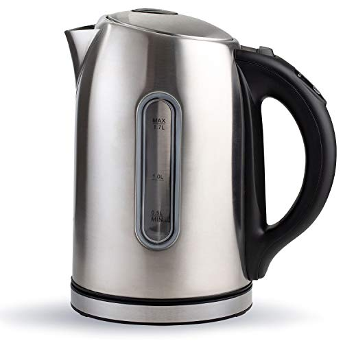 Chef's Star Electric Kettle, Stainless Steel Tea Kettle, Tea Warmer, Hot Tea Maker, Stainless Steel Bottom with LED Indicator and Auto Shut Off Protection, BPA-Free, 1500 watts, 1.7 Liters.