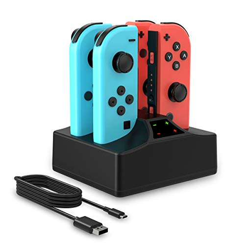 Joycon Charger for Switch, Joycon Charging Dock 4 in 1 with LED Indication Type-C USB Cable for Switch Joy-con(Black)