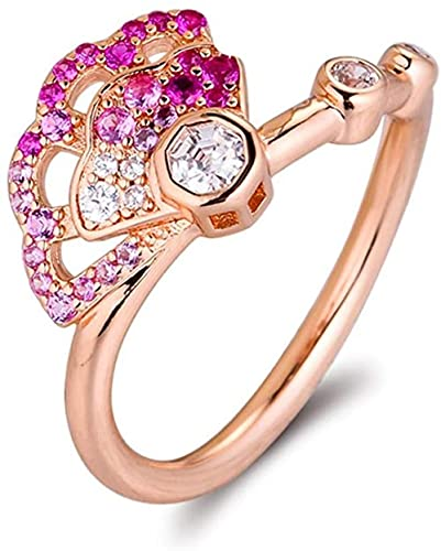 VVHN Pulseras de los Hombres Anillo de Cristal de Abanico Rosa de otoño Rosa para Mujer, Plata 925 DIY, se Adapta a Pulseras Pandora Originales, joyería de Moda con dijes (58#) - 58#