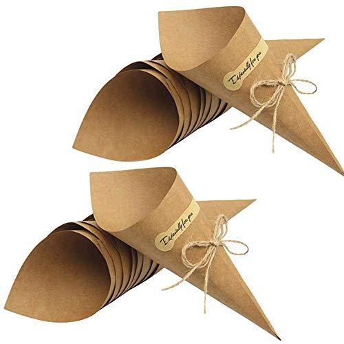 REYOK 50stk Kegel für Hochzeit Konfetti,Retro Kraft Papier Cones Kegel Tüten Bouquet Candy Schokolade Taschen Kontrollkästchen Hochzeit Partei Geschenke Verpackung mit Hanf Seile Label Aufkleber Band