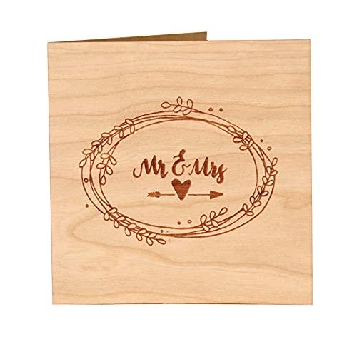 Original Holzgrußkarte - Glückwunschkarte zur Hochzeit - 100% Made in Austria, besteht aus Kirschholz - einzigartige Hochzeitskarte für das Ehepaar, auch als Einladungs-Karte und Wedding Card geeignet