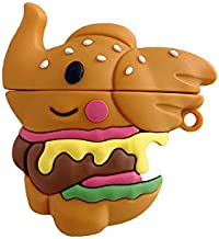 Ultra Thick Soft Silicone Dumbo Flying Elephant Burger Case with Clip for Apple Airpods 1 2 3D Cartoon Walt Disney Cute Lovely Gift Girls Kids Daughter Son