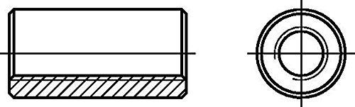 Dresselhaus 0/0914/001/8,0/30/ /01 Verbindungsmuttern (Distanz- muttern) rund, M 8 x 30, galv. verzinkt, 100 Stück