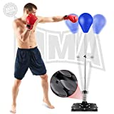 Reflex Bag Speed Punching Bag with Adjustable Height Free Standing Punching Bag Strong Durable Spring Withstands Tough Hits for Adults & Teenagers (Blue)