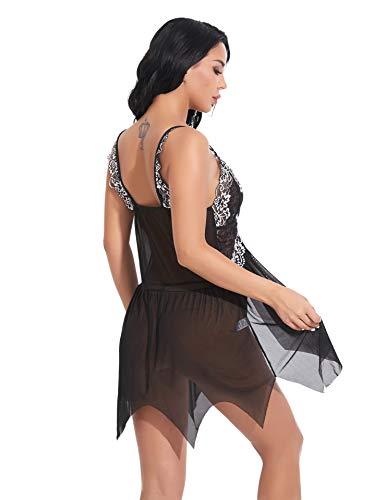 Lenceria Sexy Mujer Correas Sujetador,Ropa Interior Sexy de Encaje Transparente para Mujer, camisón + Tanga Vestido Sexy pijamas-45 Black_S,Temptation Ropa de Dormir Lingerie