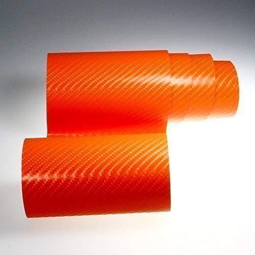 TipTopCarbon 6,58€/m² 4D Carbon Folie orange BLASENFREI 0,3m x 1,52m mit Luftkanäle Autofolie selbstklebend