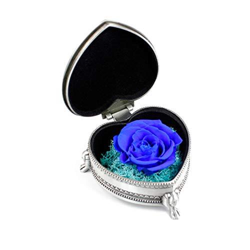 Buty Moda preservada Caja de la Flor con el Regalo del día de Boda Artificial Rosa Eterna Caja 1Ponga Azul de la Caja de Regalo de Plata Color de Rosa púrpura de la Madre