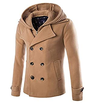 Mens Stylish Fashion Classic Wool Double Breasted Pea Coat with Removable Hood  D116 Camel,XL