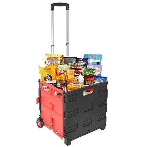 LLDKA Haushalts bewegliche Faltbare Trolley Wagen Einkaufswagen Autoanhänger Supermarkt Warenkorb kleinen Bollerwagen ziehen LKW ohne Deckel,Rot,45lL