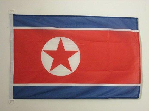 AZ FLAG Bandera de Corea del Norte 90x60cm Uso Exterior - Bandera NORCOREANA 60 x 90 cm Anillos