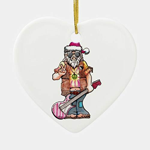 onepicebest Xmas Decorations, Christmas Ornaments 2020, Hippy Santa Says Cool Yule Ceramic Ornament for Xmas Tree, Decorative Hanging Ornaments, Gift Wrap Decor
