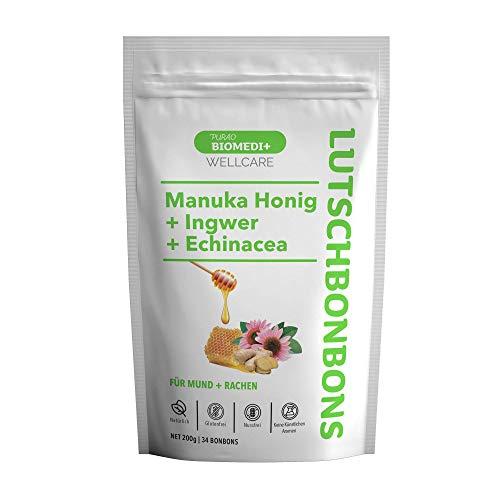 Purao Biomedi+ Manuka Honig Bonbons mit Ingwer & Echinacea - wohltuend für Mund und Hals - 34 Bonbons ( 200 g ) im wiederverschließbarem Beutel - aus Neuseeland
