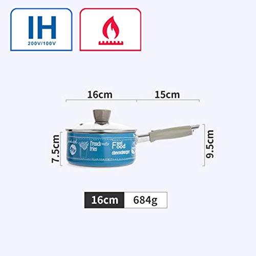Goey 16 cm tragbare Antihaft-Saucen-Milchtöpfe Lebensmitteltopf allgemeine Verwendung für Gas und Induktion, blau, 16cm-25cm